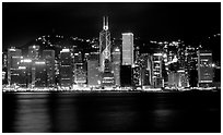 Hong-Kong Island skyline across the harbor by night. Hong-Kong, China (black and white)