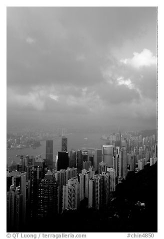 Hong-Kong Island from Victoria Peak, sunset. Hong-Kong, China