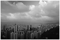 Hong-Kong skyline  from Victoria Peak, sunset. Hong-Kong, China (black and white)