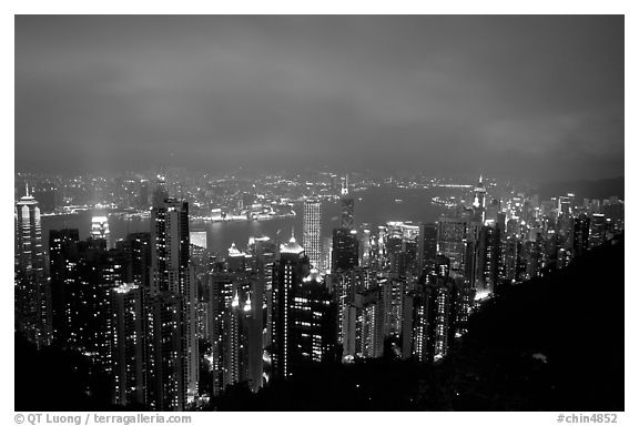 Hong-Kong lights from Victoria Peak at night. Hong-Kong, China (black and white)