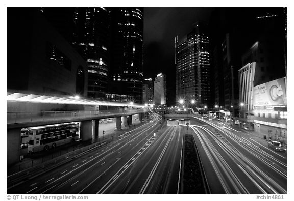 Black and white picture photo expressway on hong kong island by night hong kong china