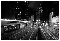 Expressway on Hong-Kong Island by night. Hong-Kong, China (black and white)