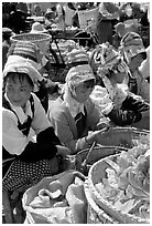 Bai women sell vegetables at the Monday market. Shaping, Yunnan, China (black and white)