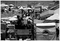 Truck carries villagers to the Monday market. Shaping, Yunnan, China ( black and white)