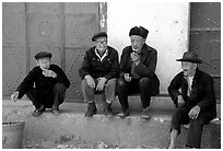 Elderly men. Shaping, Yunnan, China (black and white)