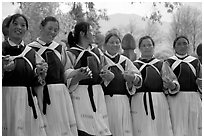 Naxi women. Baisha, Yunnan, China (black and white)