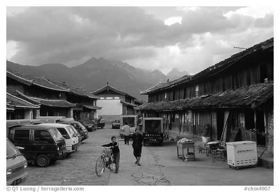 Main village plaza. Baisha, Yunnan, China (black and white)