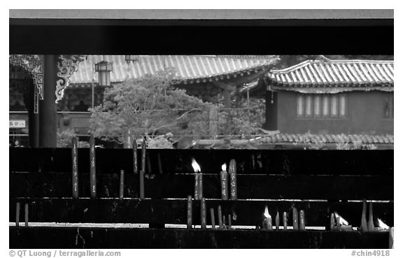 Incense stand in the central courtyard of Yantong Si. Kunming, Yunnan, China (black and white)