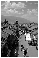 Fuxing Lu seen from the South Gate. Dali, Yunnan, China ( black and white)