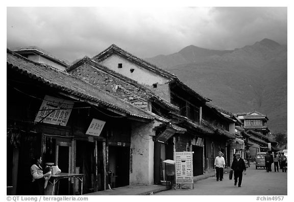 Old houses and Cang Shan mountains. Dali, Yunnan, China (black and white)