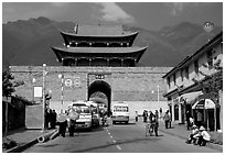 West gate with Cang Shan mountains in the background. Dali, Yunnan, China ( black and white)