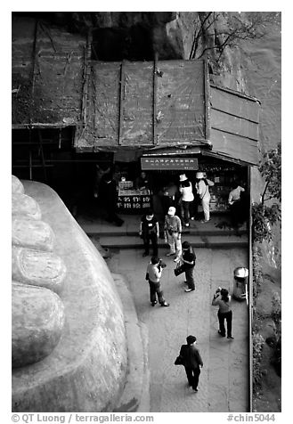 At the foot of the Grand Buddha. Leshan, Sichuan, China (black and white)