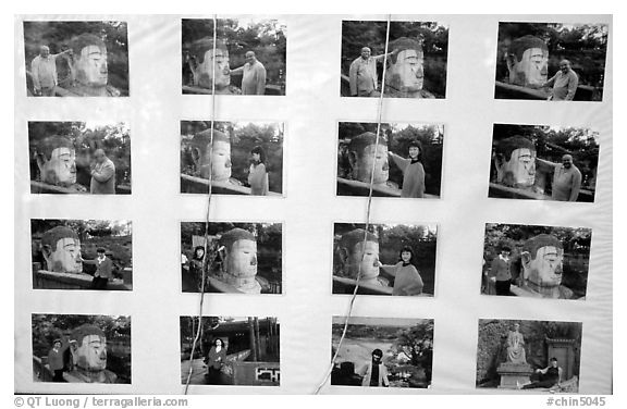 Pictures of Chinese tourists having fun with the Grand Buddha. Leshan, Sichuan, China (black and white)