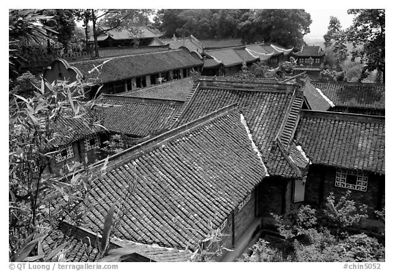Wuyou Si, Tang dynasty temple. Leshan, Sichuan, China (black and white)