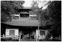 Jiazhou Huayuan temple in Dafo Si. Leshan, Sichuan, China (black and white)