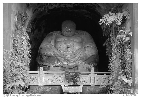 Statue. Leshan, Sichuan, China (black and white)