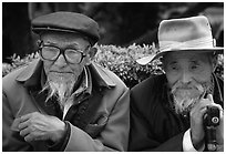 Elderly Naxi men. Lijiang, Yunnan, China (black and white)