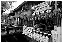 Snack Food in Lijiang restaurant overlooking a canal. Lijiang, Yunnan, China (black and white)