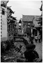 Early morning along a canal. Lijiang, Yunnan, China (black and white)