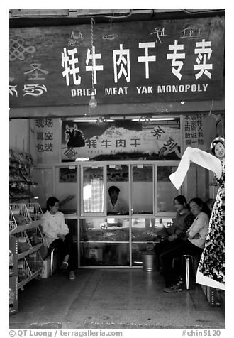 Store selling Yak meat. Lijiang, Yunnan, China (black and white)