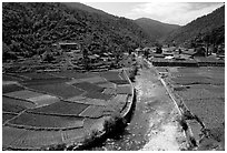 Village on the road between Lijiang and Panzhihua.  ( black and white)