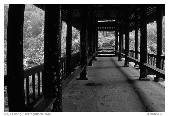Covered bridge between Qingyin and Hongchunping. Emei Shan, Sichuan, China (black and white)