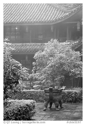 Wannian Si temple in the fog. Emei Shan, Sichuan, China (black and white)
