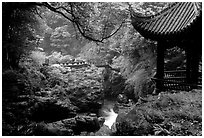 Qingyin pavillon and stream. Emei Shan, Sichuan, China (black and white)