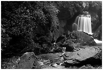Waterfall between Qingyin and Hongchunping. Emei Shan, Sichuan, China (black and white)