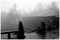 Xiangfeng temple in mist. Emei Shan, Sichuan, China ( black and white)