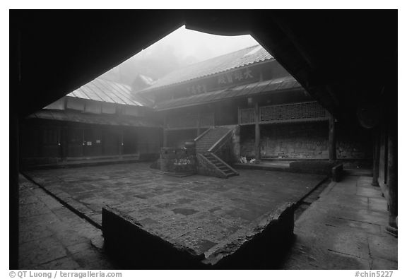 Courtyard inside  Xiangfeng temple. Emei Shan, Sichuan, China (black and white)