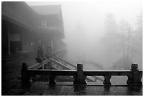 Xiangfeng temple in fog. Emei Shan, Sichuan, China (black and white)
