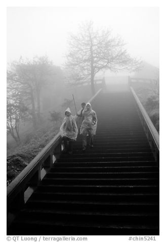 Pilgrims descend stairs beneah Xixiangchi temple in raingear. Emei Shan, Sichuan, China (black and white)