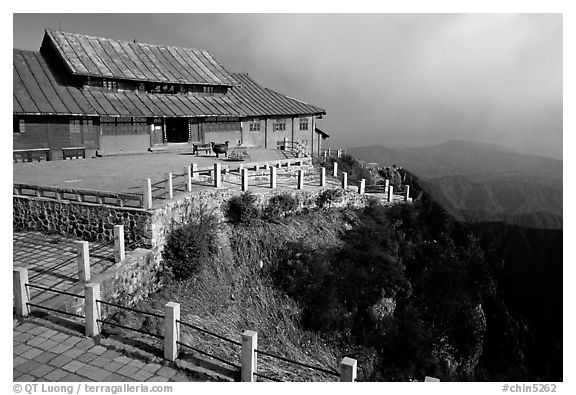 Jinding Si monestary, early morning. Emei Shan, Sichuan, China (black and white)