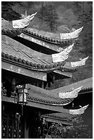 Roof detail of Jieyin Palace. Emei Shan, Sichuan, China (black and white)