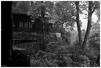 Hongchunping temple, nested in a forested hillside. Emei Shan, Sichuan, China (black and white)