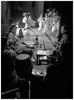 Sichuan opera performers and musicians seen from the backstage. Chengdu, Sichuan, China ( black and white)