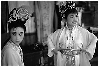 Two characters of Sichua opera off stage. Chengdu, Sichuan, China ( black and white)