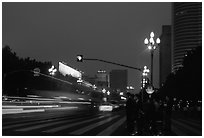 Lights of the trafic in a large avenue. Chengdu, Sichuan, China ( black and white)