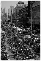 Bicycle parking lot. Chengdu, Sichuan, China ( black and white)