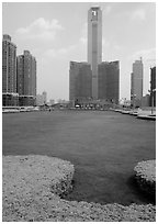 Landscaped plaza and highrises near the East train station. Guangzhou, Guangdong, China ( black and white)