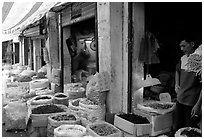 Dried food items for sale in the extended Qingping market. Guangzhou, Guangdong, China ( black and white)