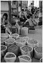 Woman selling dried food items inside the Qingping market. Guangzhou, Guangdong, China ( black and white)