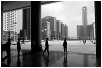 Hall of the modern East station linking to Hong-Kong. Guangzhou, Guangdong, China ( black and white)