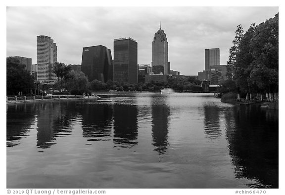 Southern Business District skyline from Yinzhou Park, Ningbo.  (black and white)
