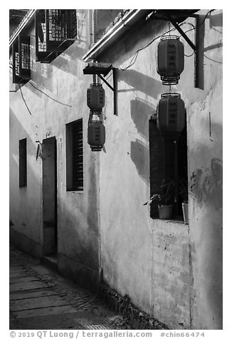 Wall with lanterns. Hongcun Village, Anhui, China (black and white)