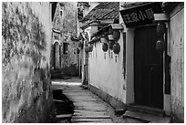 Alley with river. Hongcun Village, Anhui, China ( black and white)