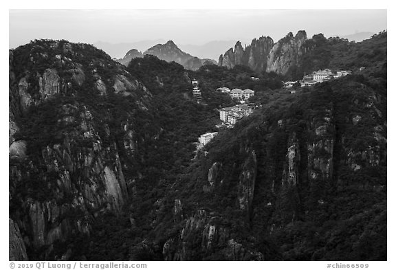 Hotels perched near montaintop. Huangshan Mountain, China (black and white)