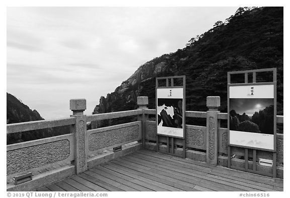 Terrace with scenic photographs. Huangshan Mountain, China (black and white)