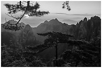 Sunrise. Huangshan Mountain, China ( black and white)